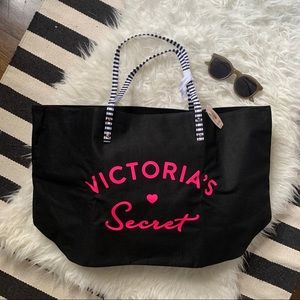 NWT Victoria's Secret tote bag black pink + stripe